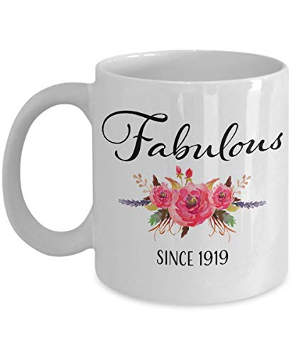 - 100th Birthday Gifts for Women - Gift for 100 Year Old Female - Fabulous Since 1919 - White Ceramic Coffee Mug