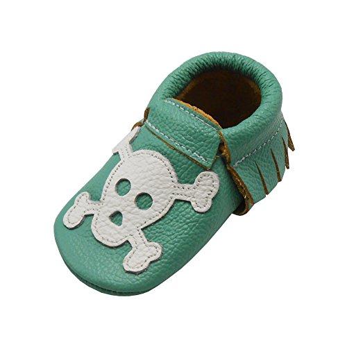 Sayoyo Suaves Zapatos De Cuero Del Bebé Zapatillas Cráneo verde