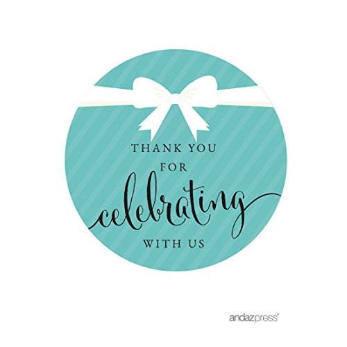 Tiffany Themed Party (Andaz Press Round Circle Labels Stickers, Party & Co, Thank You for Celebrating with US, 40-Pack, for Themed Party Favors, Gifts,)