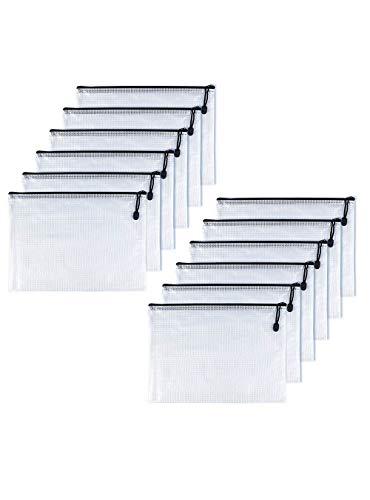 OAIMYY A6-Waterproof Tear-Resistant Plastic Zipper Pen File Document Folders Pockets Travel Bags,12-Pcs,Black - File Folder Document Bag