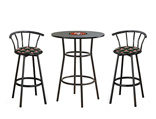 """- The Furniture Cove NEW SIZE! Counter Height 36"""" Tall Black Bar Table and 2-24"""