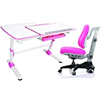 Reo-Smart Jayden V2 Pink Bundle Set Ergonomic Crank Height and Tilt Adjustable Desk (Pink). Premium Heavy Duty, Sturdy, Modern Interactive Study Work Station for All Ages