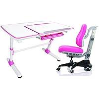 Reo-Smart 'Jayden V2' Pink Bundle Set Ergonomic Crank Height and Tilt Adjustable Desk (Pink). Premium Heavy Duty, Sturdy, Modern Interactive Study Work Station for All Ages