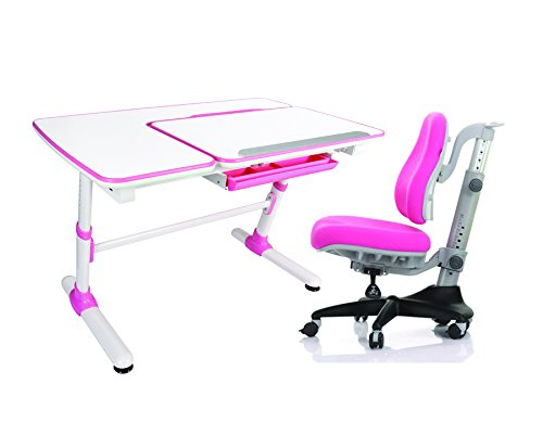 "Reo-Smart ""Jayden V2"" Pink Bundle Set Ergonomic Crank Height and Tilt Adjustable Desk (Pink). Premium Heavy Duty, Sturdy, Modern Interactive Study Work Station for All Ages"