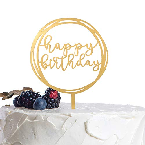 A Series Of Happy Birthday Acrylic Cake Topper - Various Birthday Cake Supplies Decorations (Gold)