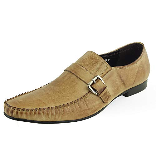 BESTON Men's Dress Shoes Italian Casual Moccasin Moc Toe (Color : Taupe, Size : 10 M US)