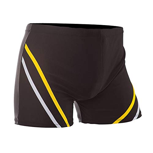 Mens Swim Boxer Briefs Short Swim Jammer Nylon Stripe Racer Square Leg Boardshorts Swimsuit (XXL, Orange)