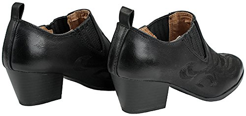 JJF Shoes Women Western Leatherette Embroidered Design Chunky Stacked Heel Ankle Cowboy Booties Black KkUgCO2g4M