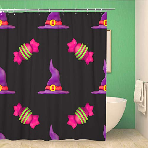 Awowee Bathroom Shower Curtain Purple All Plasticine for Halloween Dark Pattern Fills Saints Polyester Fabric 72x78 inches Waterproof Bath Curtain Set with Hooks]()