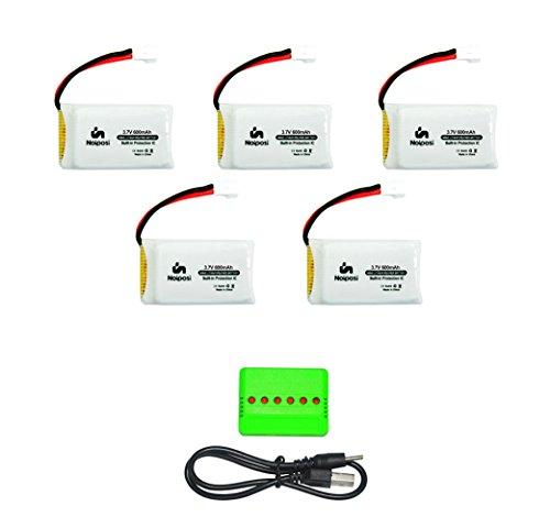 Noiposi 5 pcs Generic 3.7v 600mah 20c lipo battery with X5 Charger for Syma X5C X5SW X5C-1 X5SC X5SC-1 RC quadcopter (20c Battery)