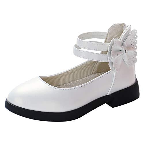 Tantisy ♣↭♣ Girl's Round Toe Flower Flat Dress Sandals Toddler Little Kids Fashion Leather Rome Shoes for Little Girls White