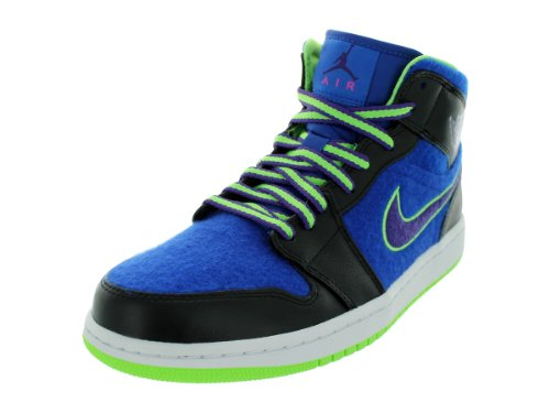 Nike Air Jordan 1 Mid Black Blue Mens Trainers Size 45.5 EU
