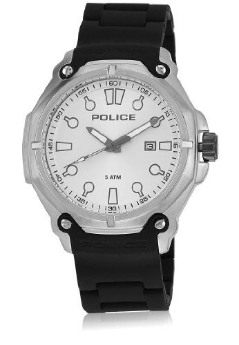 Police 13939JS-04A Mens Protector Silver and Black Plastic Strap Watch