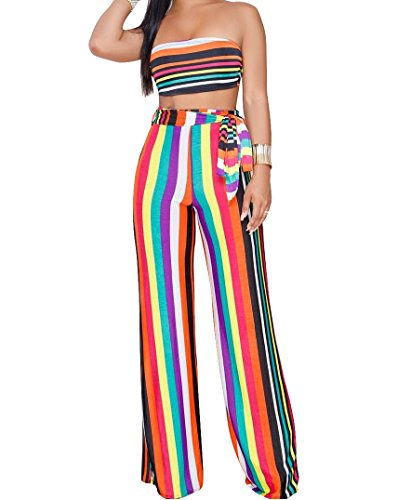 (Women's Sexy 2 Pieces Outfits Stripe Bandeau Top and Wide Long Pant Set Jumpsuit Rompers Clubwear Red Small)