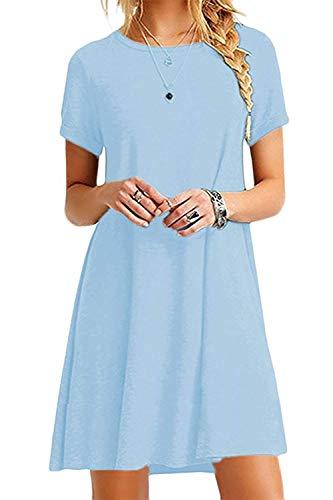 HPYLove Women's Summer Casual Plain Short Sleeve Cute Swing T-Shirt Loose Dress (Sky Blue, Large)