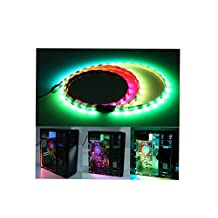 Tingkam Dream color Magic RGB 5050 SMD 3pcs 18leds 40cm LED Strip Light Attached to Your PC Case via Magnet with 14 key RF Remote Controller for Desktop Computer Mid Tower Case (The 3rd Generation)