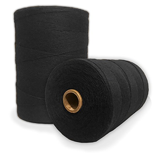 Durable Loom Warp Thread (Black), 8/4 Warp Yarn (800 Yards), Perfect for Weaving: Carpet, Tapestry, Rug, Blanket or Pattern - Warping Thread for Any Loom