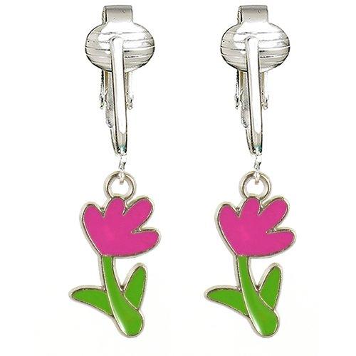 - Bright & Fun Kids Clip On Earrings for Girls w Un-pierced Ears, Flowers, Bees, Ladybug, Butterfly Clipon (Pink Flower)