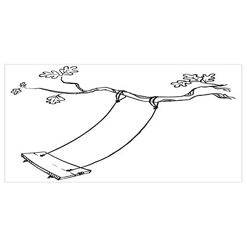 iPrint 47.2x23.6 Floor/Wall Sticker Removable,Outdoor,Sketchy Leaves Tree Branch with a Swing and Word of Joy Garden Park Play Childhood,Black White,for Living Room Bathroom Decoration