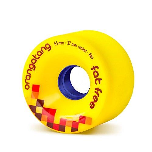 Orangatang Fat Free 65 mm 86a Freeride Longboard Skateboard Wheels (Yellow, Set of 4) ()
