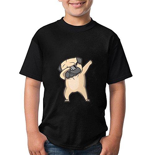 Dab Pug Dog Boys Girls Breathable T Shirt 3D Printed Tee Round Top Small ()