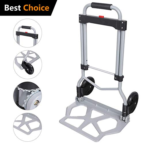 Rendio 220lbs Portable Heavy Duty Folding Hand Truck Luggage Cart Dolly with 2 Wheels Black for Travel Shopping Or Industrial