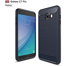 Samsung Galaxy C7 Pro Case, Landee Soft Silicon Resilient Shock Absorption and Carbon Fiber Design Protective Case for Samsung Galaxy C7 Pro(C7Pro-TQ-02)