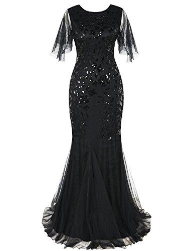 kayamiya 1920s Long Maxi Prom Gowns Sequin Mermaid Bridesmaid Formal Evening Dress XL (Ball Evening Gown Dress)