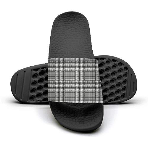MIJIIE Mens Slides Shoes Cool Plaid Printing Houndstooth Black Sandals Extra-Soft Indoor Flip Flops