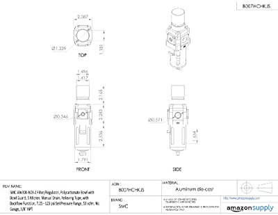 "SMC AW30K-N03-Z Filter/Regulator, Polycarbonate Bowl with Bowl Guard, 5 Micron, Manual Drain, Relieving Type, with Backflow Function, 7.25 - 123 psi Set Pressure Range, 53 scfm, No Gauge, 3/8"" NPT"