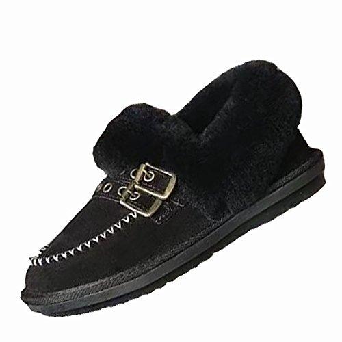 HSXZ Zapatos de Mujer de cuero de nubuck moda otoño invierno PU Confort botas botas talón plano Ronda Toe botines/botines de Casual Negro Marrón Brown
