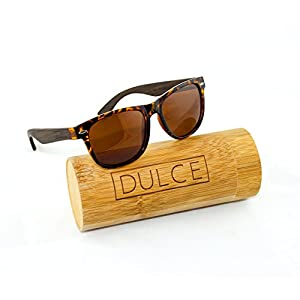Polarized Sunglasses By Dulce | Handmade Rose Wood Tortoise, UAV UAB Protective