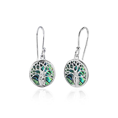 (Sterling Silver Abalone Polished Tree of Life Dangle Earrings)