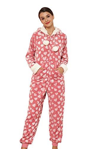 KING FUN Womens Embossed Flannel Onesie One Piece Sleepwear Pajamas Pink heart Large FO001