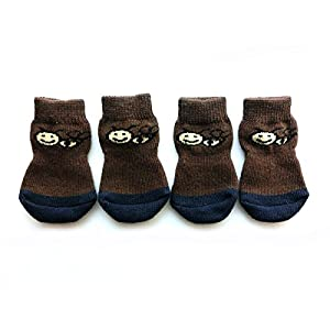 Xanday Anti-Slip Dog Socks, Paw Protectors for Indoor Wear, 4pcs 55