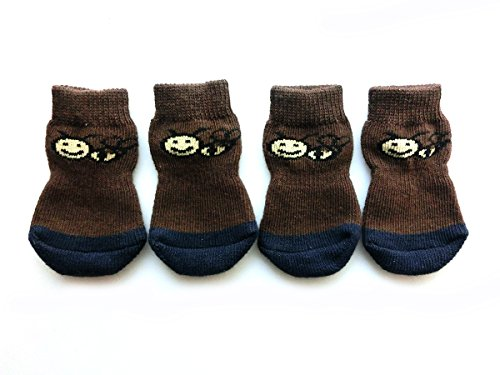 Xanday Anti-Slip Dog Socks, Paw Protectors for Indoor Wear, 4pcs (S, Brown) by Xanday