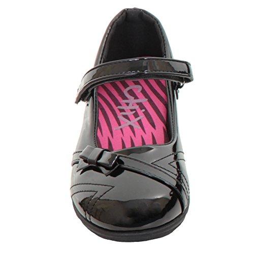 Saphir Boutique Mädchen Zick-Zack Stich dünne Träger Schulanfang LACK Smarter Kinder Flache Schuhe Schwarz