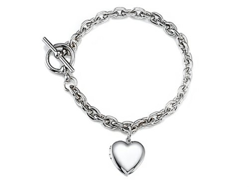 Sterling Silver Heart Charm Locket Toggle Bracelet Charm Locket Toggle Bracelet