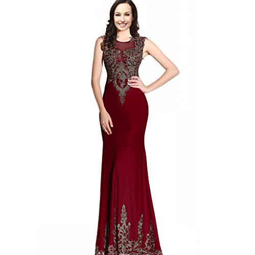 Mermaid Sexy Sheer Back Long Women Formal Prom Evening Dresses Gold Lace Crystals Burgundy US 16W