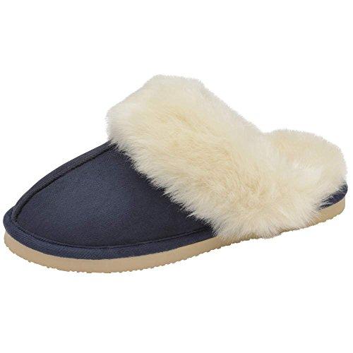 Faux Sarah Suede Famous Dunlop Mule Ladies Navy Slippers qtZE7