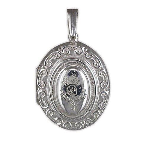 Pour Enfant En Argent Sterling Grand médaillon ovale décoré de style victorien sur un collier Gourmette