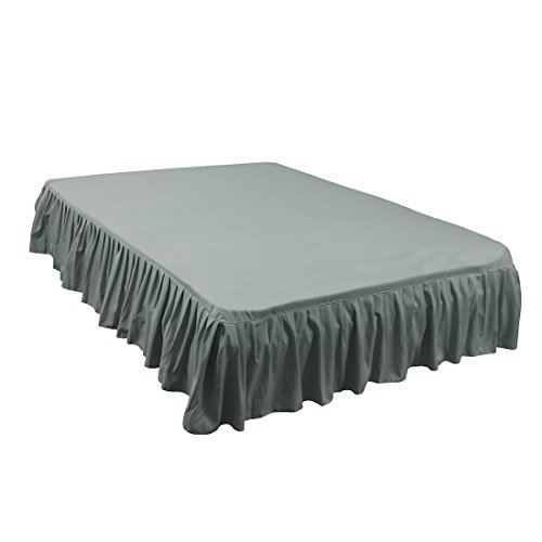 uxcell Brushed Polyester Bed Skirt Easy Off Dust - with 14 Inch Drop Gray, Queen Size(80-Inch-by-60-Inch)
