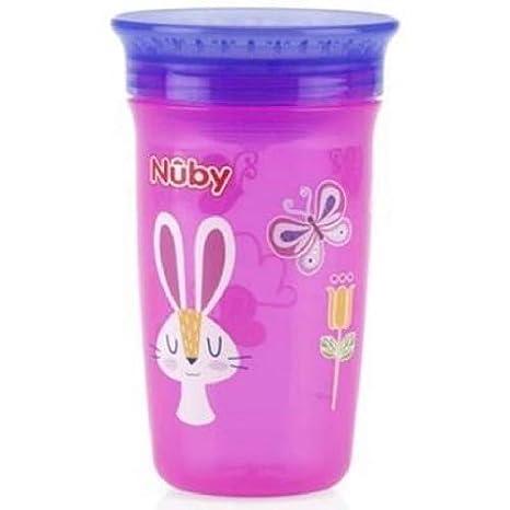 Nuby Thirsty Kids Maxi 360 12 m libre de BPA conejos rosa