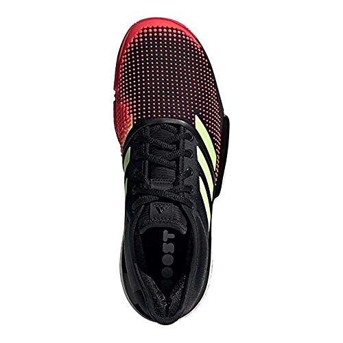adidas Men's SoleCourt Boost Tennis Shoes (11.5, Black/Yellow/Red) (Best Shoes To Wear To Play Tennis)