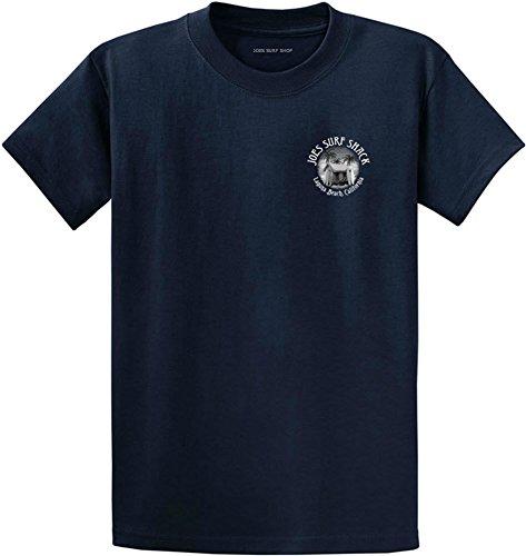 Surf Graphic (Joe's Surf Shack Vintage Logo Heavyweight Cotton T-Shirt-Navy/w-3XL)