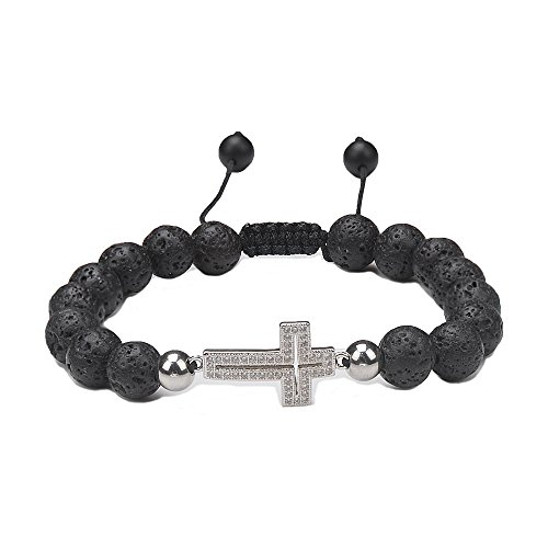 Christian Cross Bracelet Healing Beaded Yoga-Jeka Silver Dainty Charm Adjustable 8mm Natural Lava Rock Stone Essential Oil Diffuser for Women Girl Lady Energy Chakra Religious Mala (Gemstone Religious Cross)