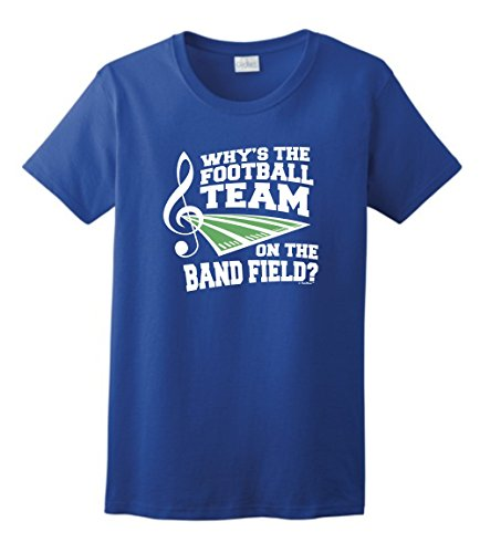 nd Shirts Why's The Football Team on Band Field Marching Band Ladies T-Shirt Small Royal (High School Band T-shirts)