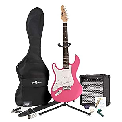LA Left Handed Electric Guitar by Gear4music Pink + Complete Pack