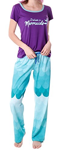 RHEA Women's Sleepwear Tee & Drawstring Pant Pajama Set Mermaid,Purple,L/Short