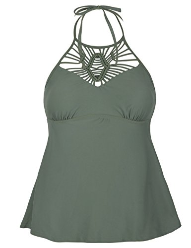 Knit Bikini Top - Mycoco Women's High Neck Tankinis Macrame Swim Top Crochet Knit Halter Bathing Suit Knitting Army Green 10